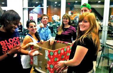 Students collecting holiday gifts